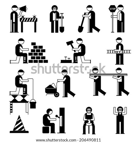 mechanic people icons, working people in construction site, black theme - stock vector
