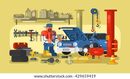 Mechanic Repairs Car in the Garage - stock vector