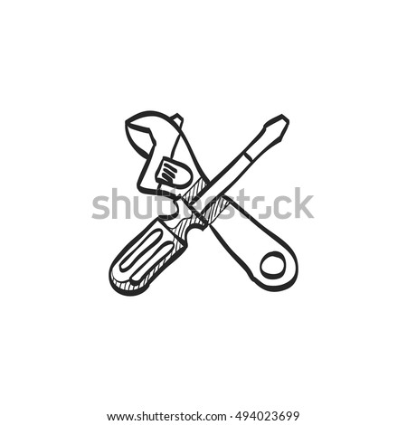 mechanic tools icon in doodle sketch lines wrench screw driver mechanic setting maintenance professional setting