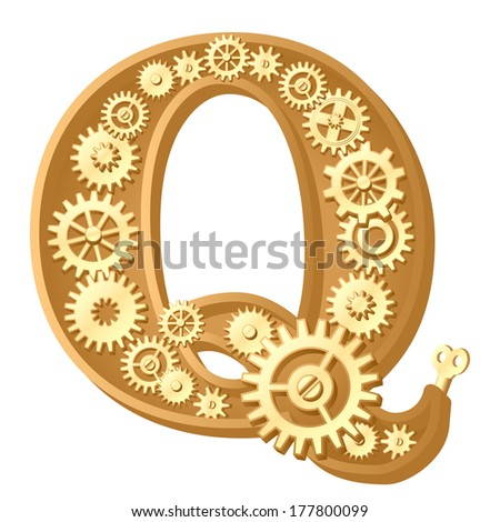 Mechanical alphabet made from gears. Letter q - stock vector