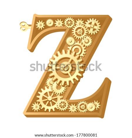 Mechanical alphabet made from gears. Letter z - stock vector