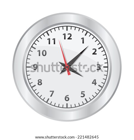 Mechanical clock on white background