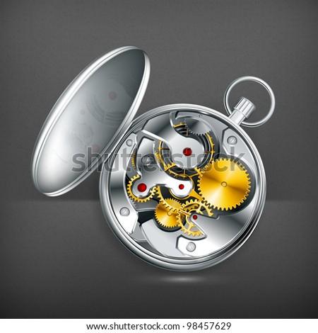 Mechanical clock, vector - stock vector