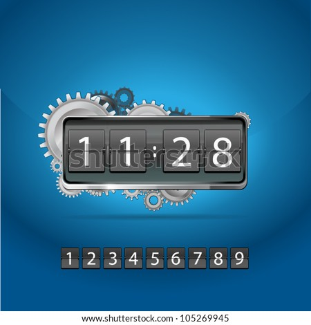 mechanical clockwork and time display - stock vector