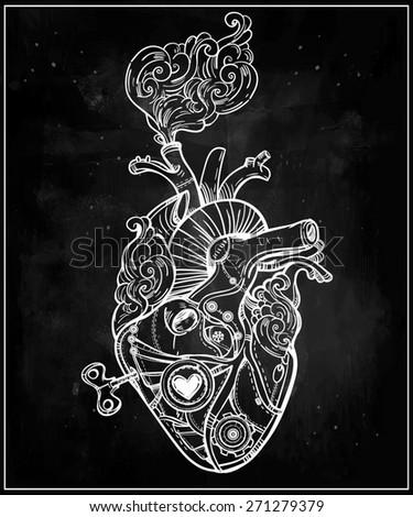 Mechanical clockwork metal steaming human heart, steam punk style. Hand drawn line art. Vintage Victorian. Beautiful tattoo template. Isolated vector illustration design element. Chalk on blackboard.  - stock vector