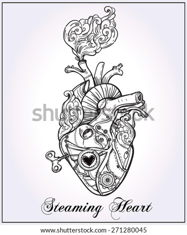 Mechanical clockwork metal steaming human heart, steam punk style. Hand drawn line art. Vintage Victorian. Beautiful tattoo template. Isolated vector illustration, design element. Silver white paper.  - stock vector