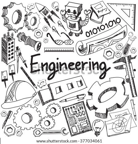 Mechanical, electrical, civil, chemical and other engineering education profession handwriting doodle icon tool sign and symbol in white isolated background paper used for presentation title (vector)