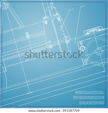 Mechanical engineering drawings. Engineering illustration. Vector blue and white background
