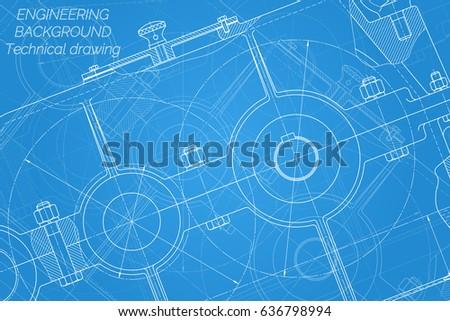 Mechanical engineering drawings on blue background stock vector mechanical engineering drawings on blue background reducer technical design cover blueprint malvernweather Images