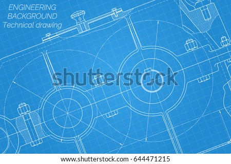 Mechanical engineering drawings on blue background stock vector mechanical engineering drawings on blue background reducer technical design cover blueprint malvernweather Images