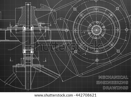 Mechanical engineering drawings. Vector black background. Grid