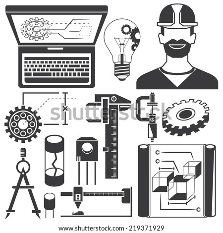mechanical engineering set - stock vector