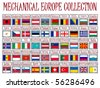 mechanical europe flags collection against white background, abstract vector art illustration - stock vector