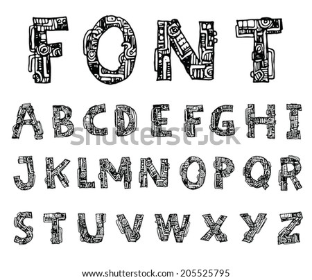 mechanical font style, Vector. - stock vector