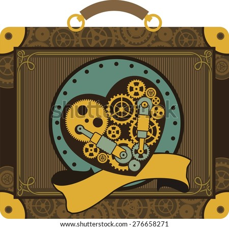 mechanical heart inside the gear and various moving parts are forced to work in the heart with very sheltered place - stock vector