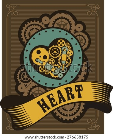 mechanical heart inside the gear and various moving parts are forced to work on the heart with very retro background - stock vector