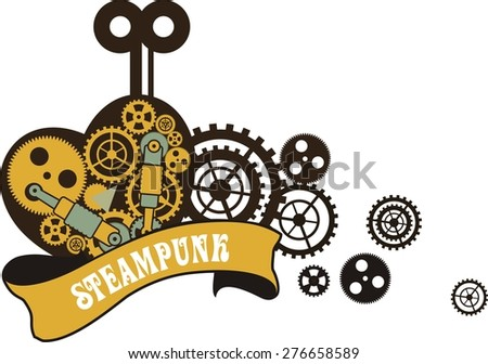 mechanical heart inside the gear and various moving parts Secret forced to work on a white background - stock vector