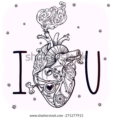 Mechanical metal steaming human heart, steam punk style. Hand drawn line art. Vintage Victorian. Beautiful tattoo template. Isolated vector illustration, design element. White background. I love you.  - stock vector