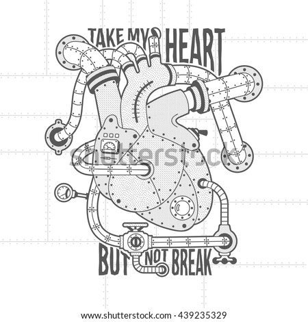 Mechanical motor heart Image in steampunk style. Vintage lettering. Background, fill, stroke, hatching and text on separate layers. Full editable vector illustration. - stock vector