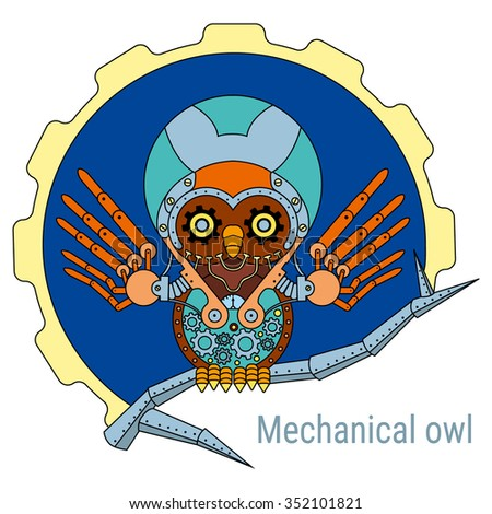 Mechanical owl sitting on a branch on a background of gears