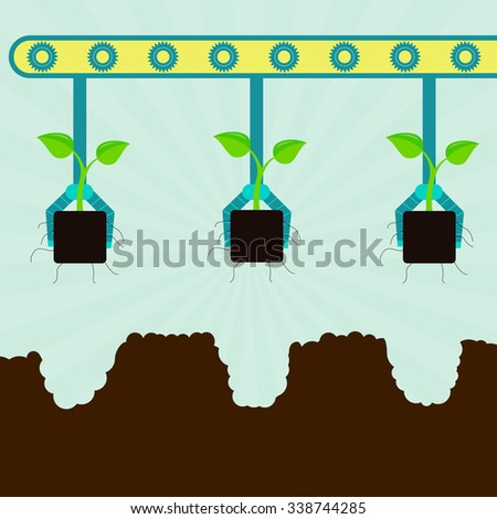 Mechanical planting seedlings. Machine with grippers planting seedlings. Serial planting. - stock vector