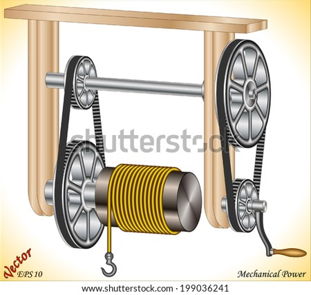 Mechanical Power Winch - stock vector