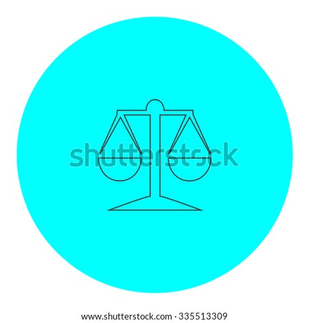 Mechanical scales. Black outline flat icon on blue circle. Simple vector illustration pictogram on white background - stock vector