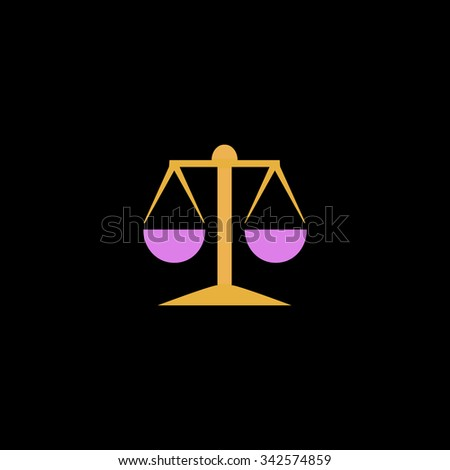 Mechanical scales. Color vector icon on black background - stock vector