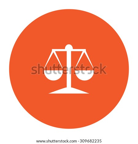 Mechanical scales. Flat white symbol in the orange circle. Vector illustration icon - stock vector