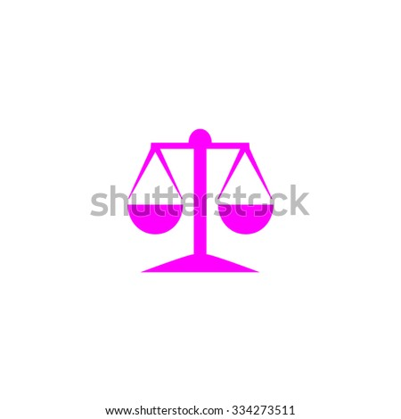 Mechanical scales. Pink flat icon. Simple vector illustration pictogram on white background - stock vector