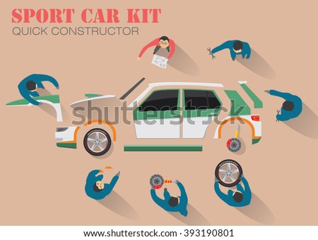 Mechanical team assembly a sport car from body parts components. Working together or skill training course. Car service team workshop. Garage works. Flat lay concept design. Vector illustration  - stock vector