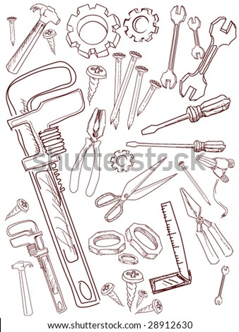Mechanical Tool Doodles - Vector - stock vector