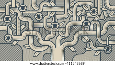 Mechanical tree with eyes. Monochrome pop art style background - stock vector