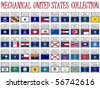 mechanical united states flags collection against white background, abstract vector art illustration - stock photo