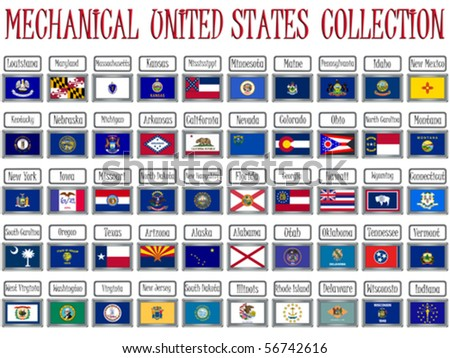mechanical united states flags collection against white background, abstract vector art illustration - stock vector