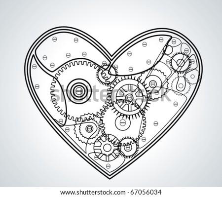 Mechanical Valentine heart. Vector - stock vector