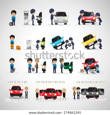 Mechanics And Workers In Different Situations Set - Isolated On White Background - Vector Illustration, Graphic Design Editable For Your Design. Promotion, Car Show And Trade On Fair  - stock vector