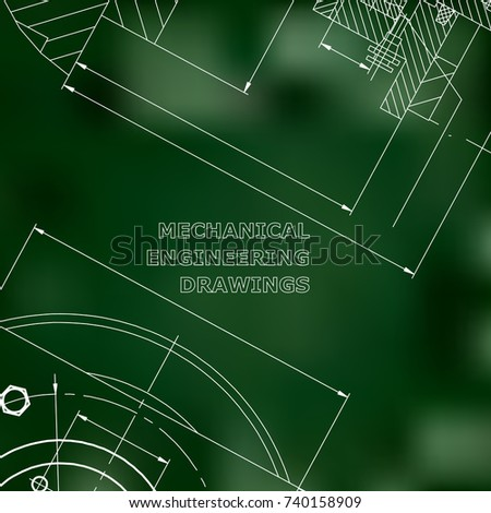 Mechanics. Technical design. Engineering style. Mechanical Corporate Identity. Green background