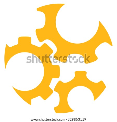 Mechanics vector icon. Style is flat symbol, yellow color, rounded angles, white background. - stock vector