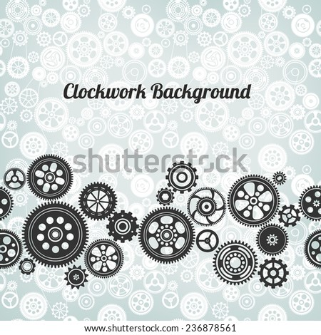 mechanism background with cogwheels and gears, vector illustration - stock vector