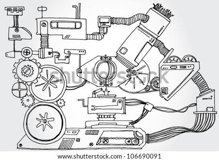 Mechanism Hand Drawn - stock vector