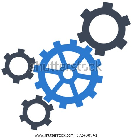 Mechanism vector icon. Image style is bicolor flat mechanism pictogram drawn with smooth blue colors on a white background. - stock vector