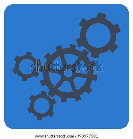Mechanism vector icon. Image style is bicolor flat mechanism pictogram symbol drawn on a rounded square with smooth blue colors. - stock vector