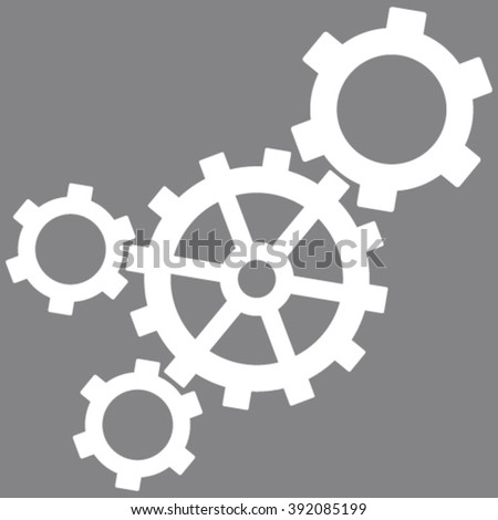 Mechanism vector icon. Image style is flat mechanism pictogram symbol drawn with white color on a gray background. - stock vector