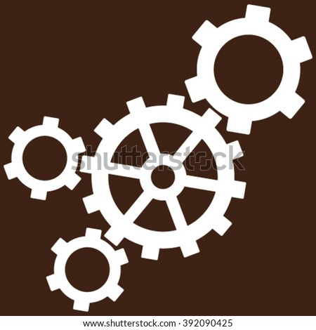 Mechanism vector icon. Image style is flat mechanism pictogram symbol drawn with white color on a brown background. - stock vector