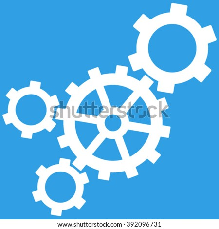 Mechanism vector icon. Image style is flat mechanism pictogram symbol drawn with white color on a blue background. - stock vector