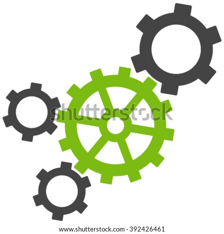 Mechanism vector icon. Mechanism icon symbol. Mechanism icon image. Mechanism icon picture. Mechanism pictogram. Flat eco green and gray mechanism icon. Isolated mechanism icon graphic. - stock vector