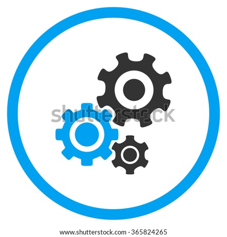 Mechanism vector icon. Style is bicolor flat circled symbol, blue and gray colors, rounded angles, white background. - stock vector