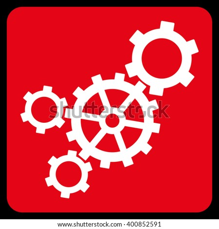 Mechanism vector icon symbol. Image style is bicolor flat mechanism pictogram symbol drawn on a rounded square with red and white colors. - stock vector