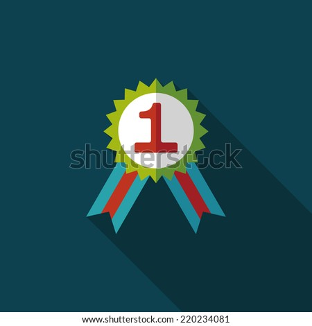 medal flat icon with long shadow,eps10 - stock vector